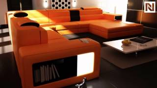 Model: Polaris (5022) -  Orange Contemporary Leather Sectional Sofa Vgev5022-or From Vig Furniture