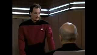 Q offers to help Picard's dull plodding pedantic speech.