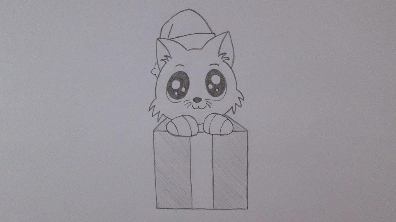 Cómo Dibujar Un Gatito En Una Caja De Regalo