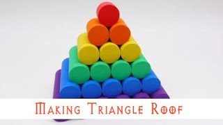 Making Triangle Roof With Kinetic Sand - Learn Colors & Toys For Kids