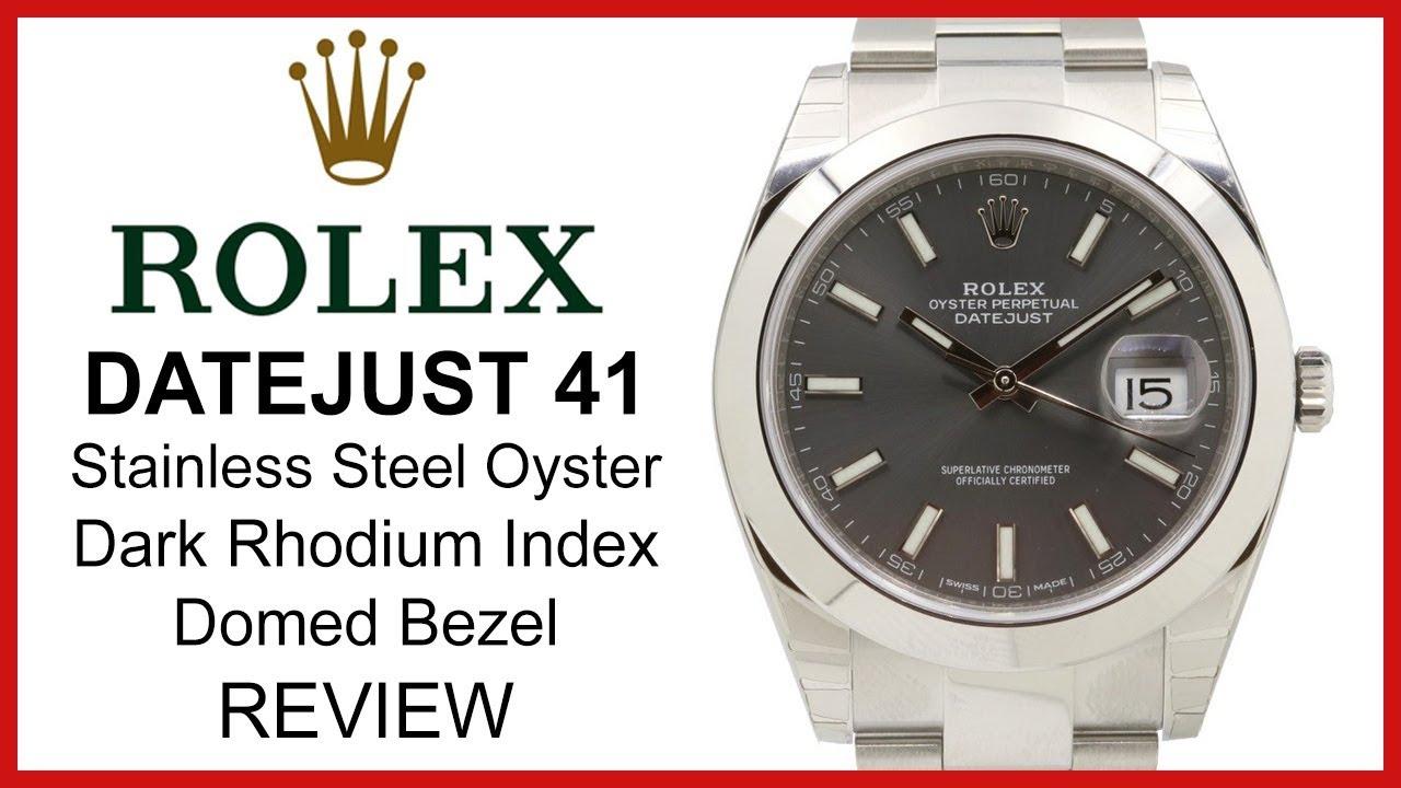 Rolex DATEJUST 41: Dark Rhodium Dial, smooth domed Bezel, steel oyster  Bracelet - REVIEW 126300
