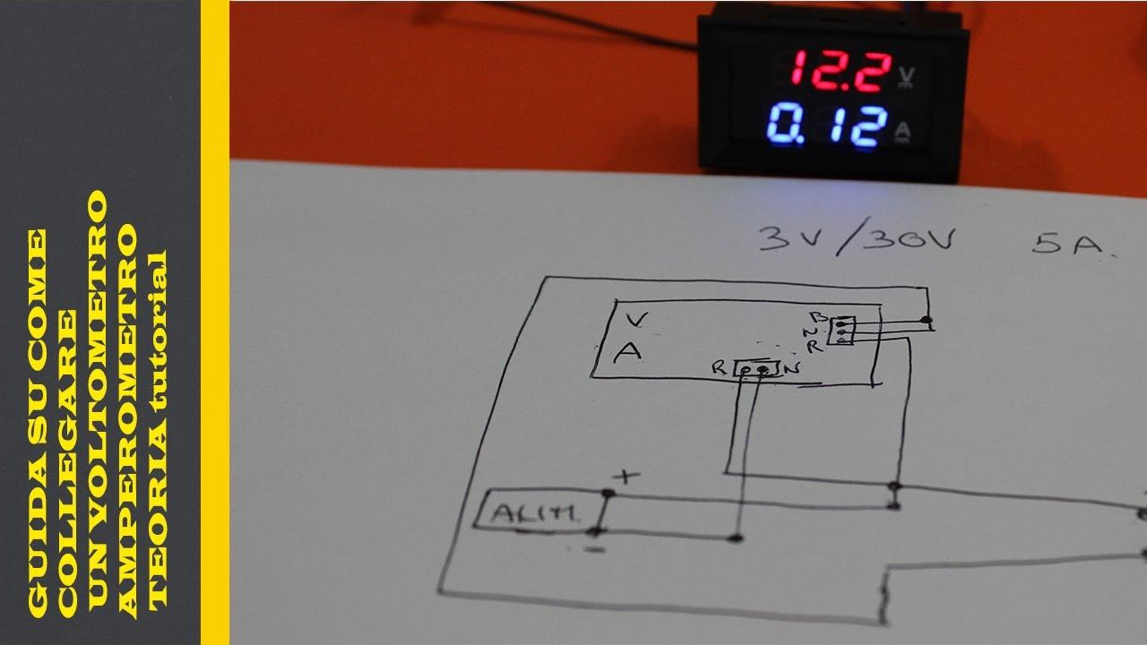 Schema Elettrico Voltmetro Per Auto : Guida su come collegare un voltometro amperometro teoria tutorial