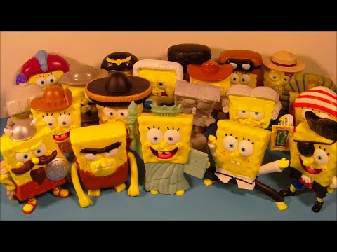2005 SPONGEBOB SQUAREPANTS LOST IN TIME SET OF 20 BURGER KING KID'S MEAL TOY'S VIDEO REVIEW