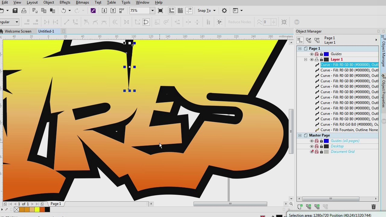How to draw graffiti simple use corel draw x 8