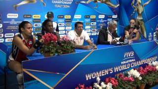 01-10-2014: Press Conference post DOM-BEL De La Cruz De Pena Bethania (Captain DOM)