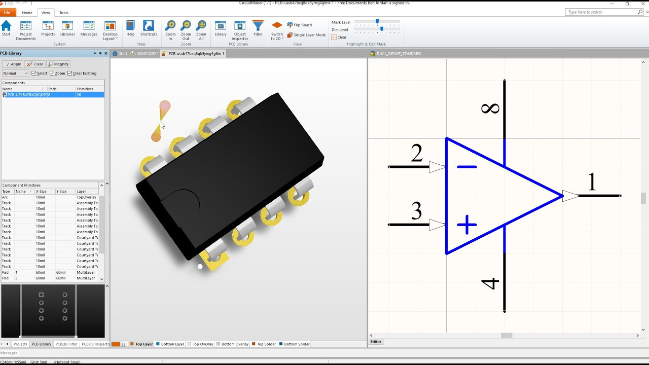 make a dip 8 footprint in circuitmaker with 3d model youtube rh youtube com