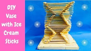 How to make Flower Basket with Icecream sticks, DIY Vase with Icecream sticks