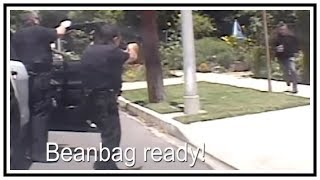 Charges At Police With Box Cutter (LAPD Fatal OIS) | Body Cam & Dash Cam | United States | 20190606