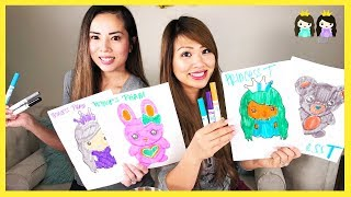 3 Marker Challenge with Sister! Princess ToysReview, Winkie, and Karat
