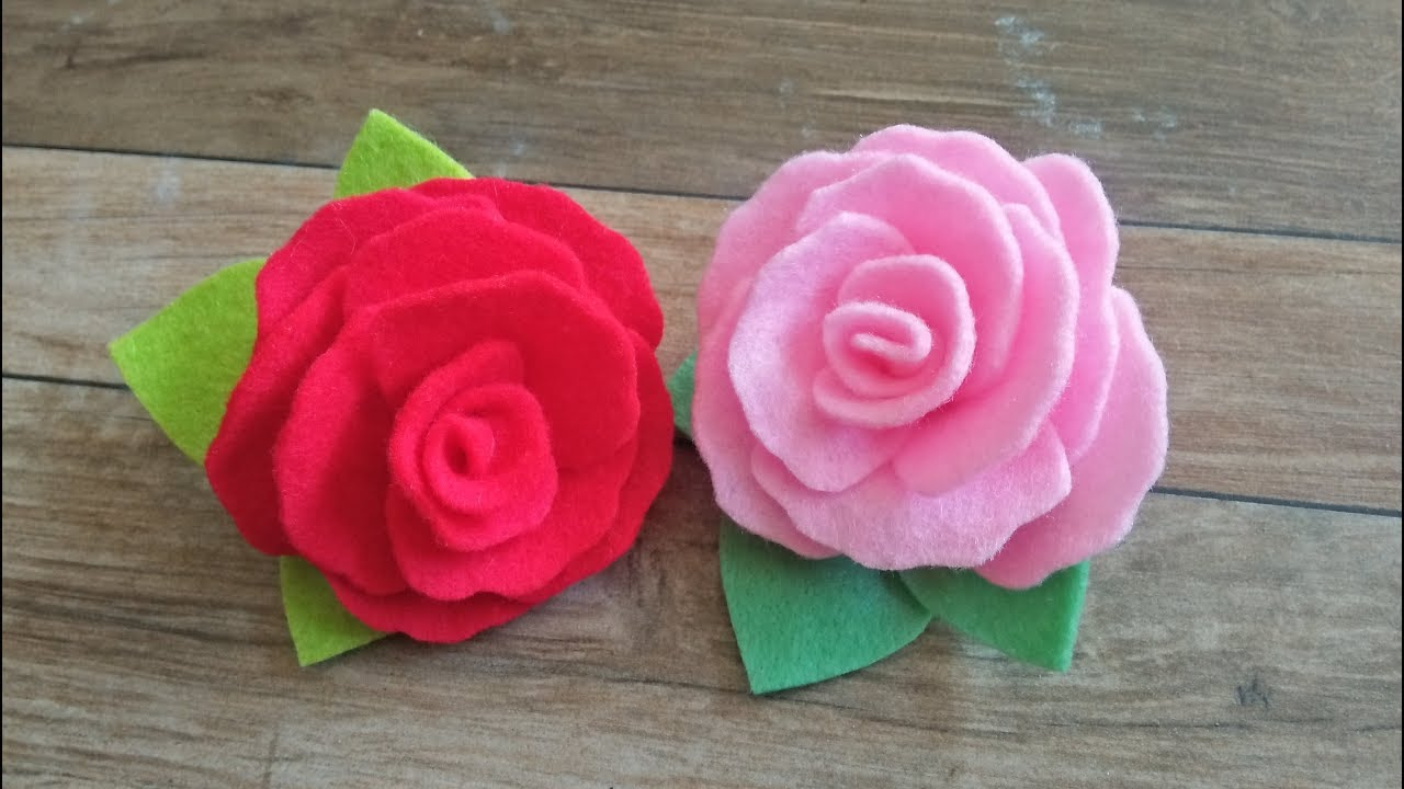 Tutorial Flanel Felt Cara Membuat Bros Bunga Mawar Youtube