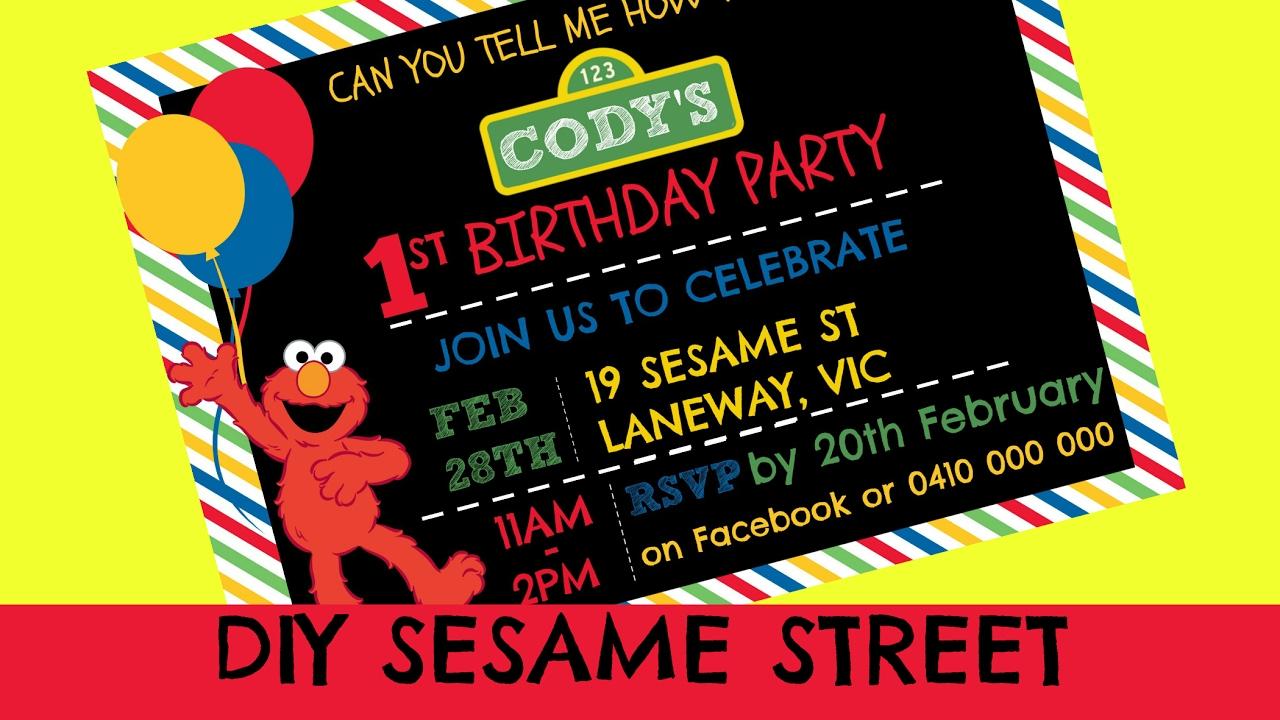 How To Make A Sesame Street Digital Invitation Includes Free Template Ellierosepartydesigns Com