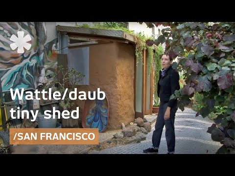 Tiny wattle-and-daub shed from local dirt in downtown San Francisco