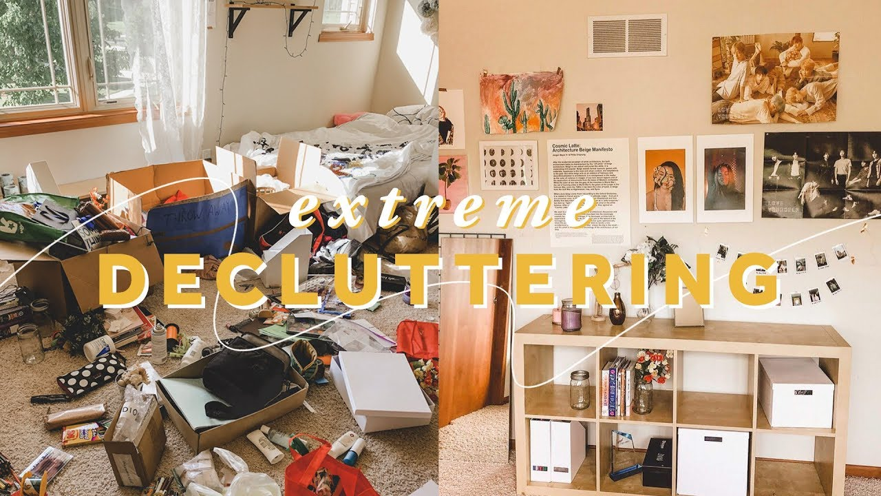 Decluttering my entire room before after youtube - Declutter before and after ...