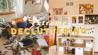 DECLUTTERING my entire room 🛏 | before & after