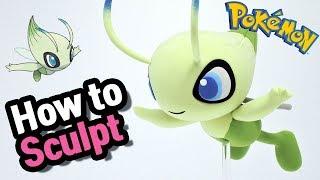 Sculpting Celebi Psychic/Grass Mythical Pokémon in Clay