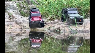 Traxxas TRX-4 LandRover Defender VS Rubicon JK - Rock Trials