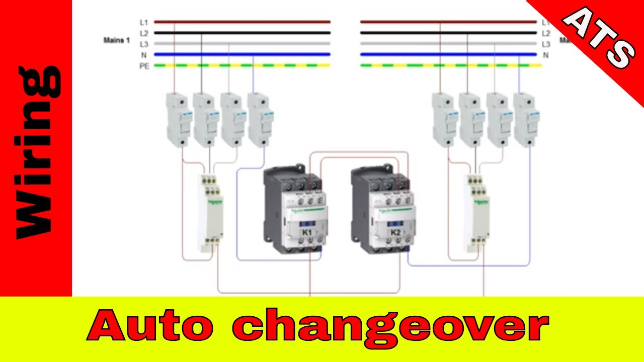 How to wire simple automatic changeover. (ATS) Wiring Ats on three-phase electric power, extension cord, distribution board, electrical conduit, ground and neutral, wiring diagram, electric motor, knob-and-tube wiring, national electrical code, alternating current, electrical engineering, junction box, power cable, circuit breaker, power cord, earthing system, electric power distribution,
