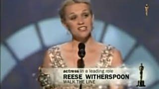 Reese Witherspoon winning Best Actress for Walk the Line