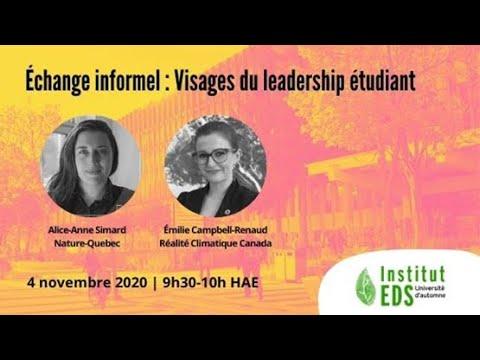 Échange informel : Visages du leadership étudiant | Université d'automne 2020 de l'Institut EDS