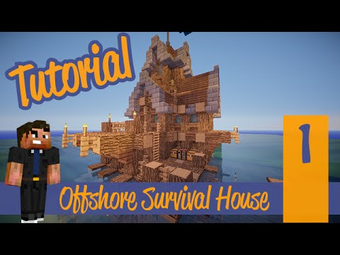 Minecraft Tutorial - Small Simple Survival Offshore Ocean Fishing House/Hut! Ps4/XBOX/PS3/PE/PC