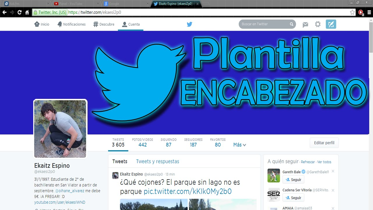 Plantilla encabezado Twitter 2018 | ENCAJA 100% - YouTube