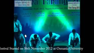 Yuva Tarang 2012 Central Zone Inter University Youth Festival  at Osmania University Video 4