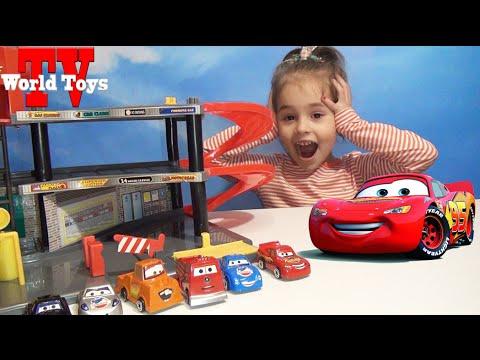 Тачки. Огромный гараж для Маквина и его друзей  Cars McQueen big garage