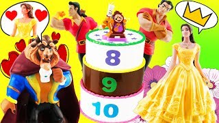 Beauty and The Beast Movie Cake Toy Surprise Game w/ Belle, Lumiere, Cogsworth & Gaston