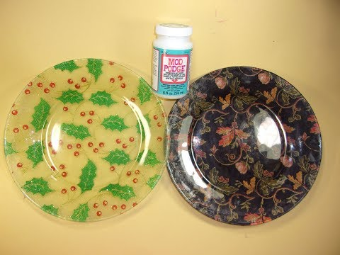 Fabric Covered Dollar Tree Glass Plate, Great Gift/Holiday Table Decor