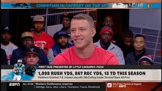 "Christian McCaffrey on the set vs Stephen A. Smith: ""Which backfield is more important?""