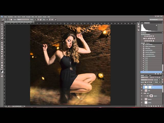 Speed Composing Photoshopp CC: Girl into dark basment