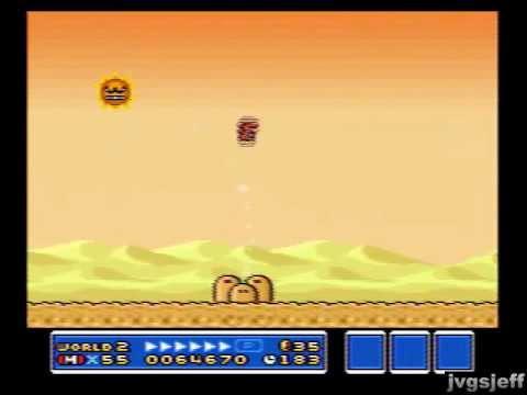 Super Mario Bros 3 Snes World 2 Desert Angry Sun Level