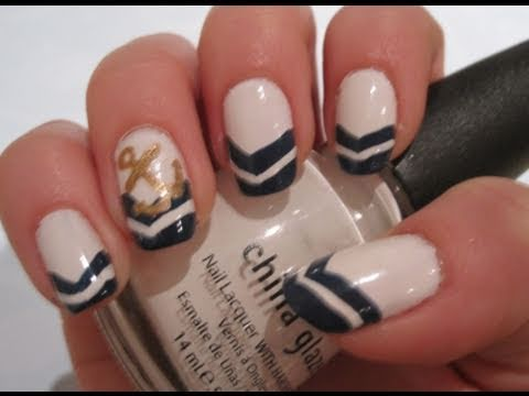 Tutorial Nautical Anchor Nail Art Youtube