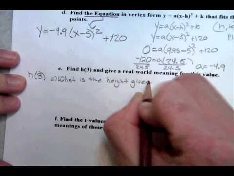 Setting Up Vertex Form Word Problem Youtube Youtube
