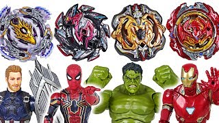 Beyblade super zetsu B-110, 113, 115, 117 appeared! Marvel Avengers Hulk vs Thanos - DuDuPopTOY