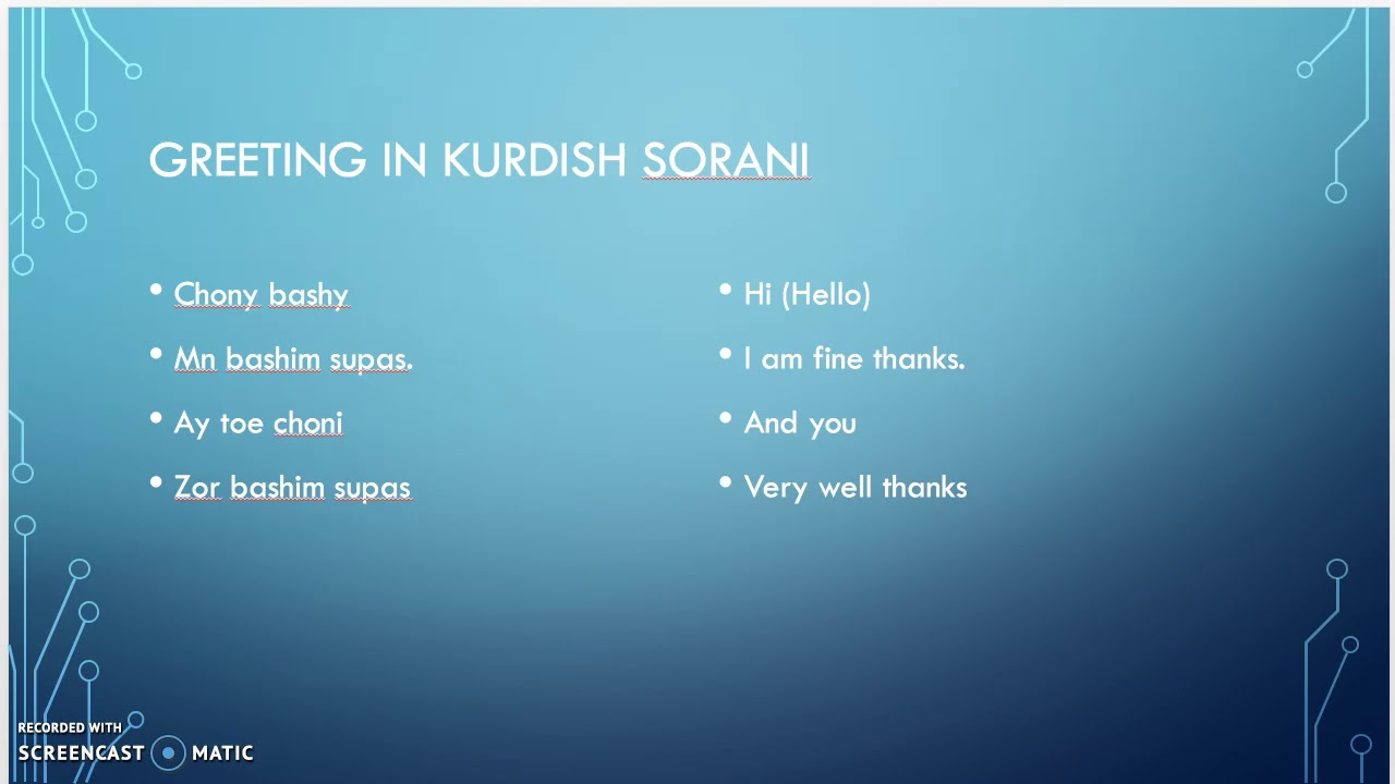 Greeting In Kurdish Sorani Language Youtube