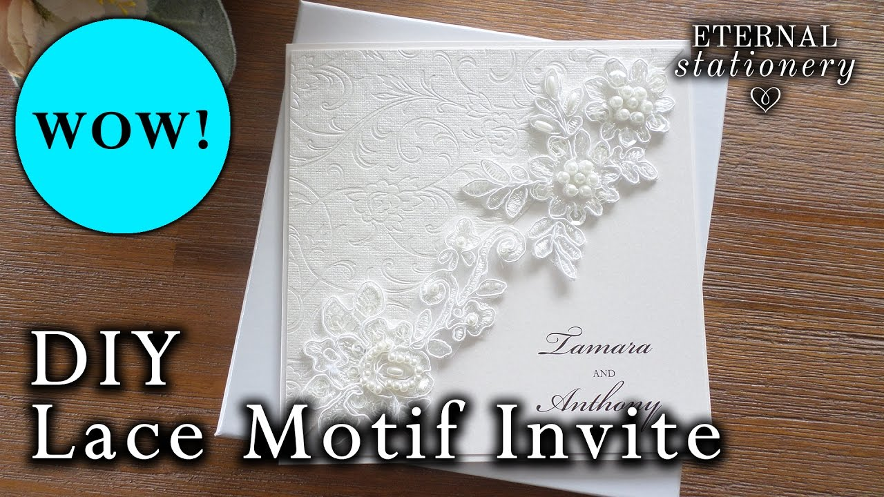 DIY Elegant Lace Motif Wedding Invitation | How to make easy ...