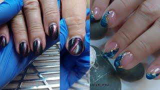 Модный дизайн ногтей из Instagram Замес цвета гель лаками Укрепление ногтей гелем без опила