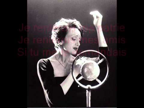 Edith Piaf  L'hymne à l'amour  Paroles