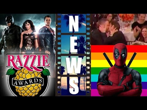 Batman v Superman Razzies Nominations, Ryan Reynolds & Andrew Garfield kiss at Golden Globes