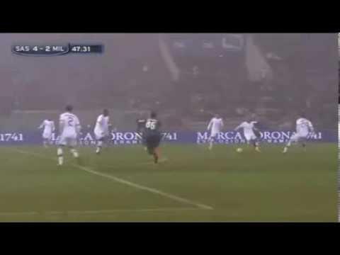 Domenico berardi (sassuolo) scores four goals against ac milan | serie a (12/01/2014)