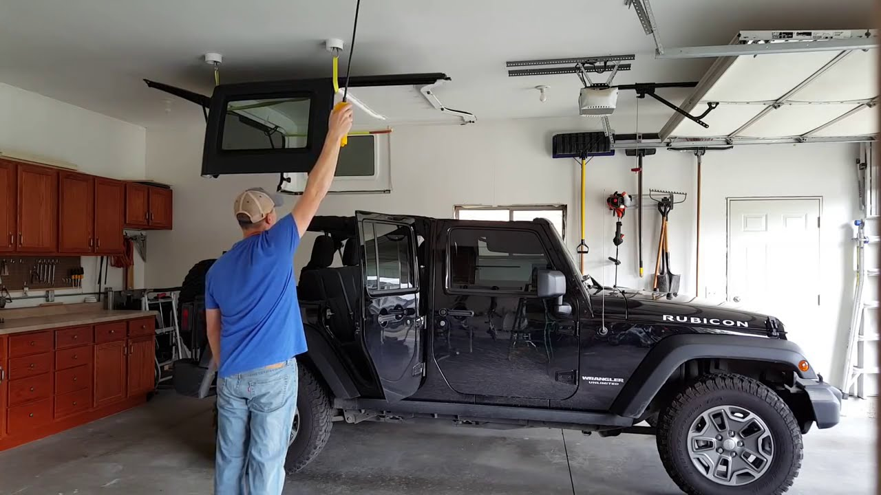 Concealed Jeep Hardtop Lift With Electric Hoist Youtube