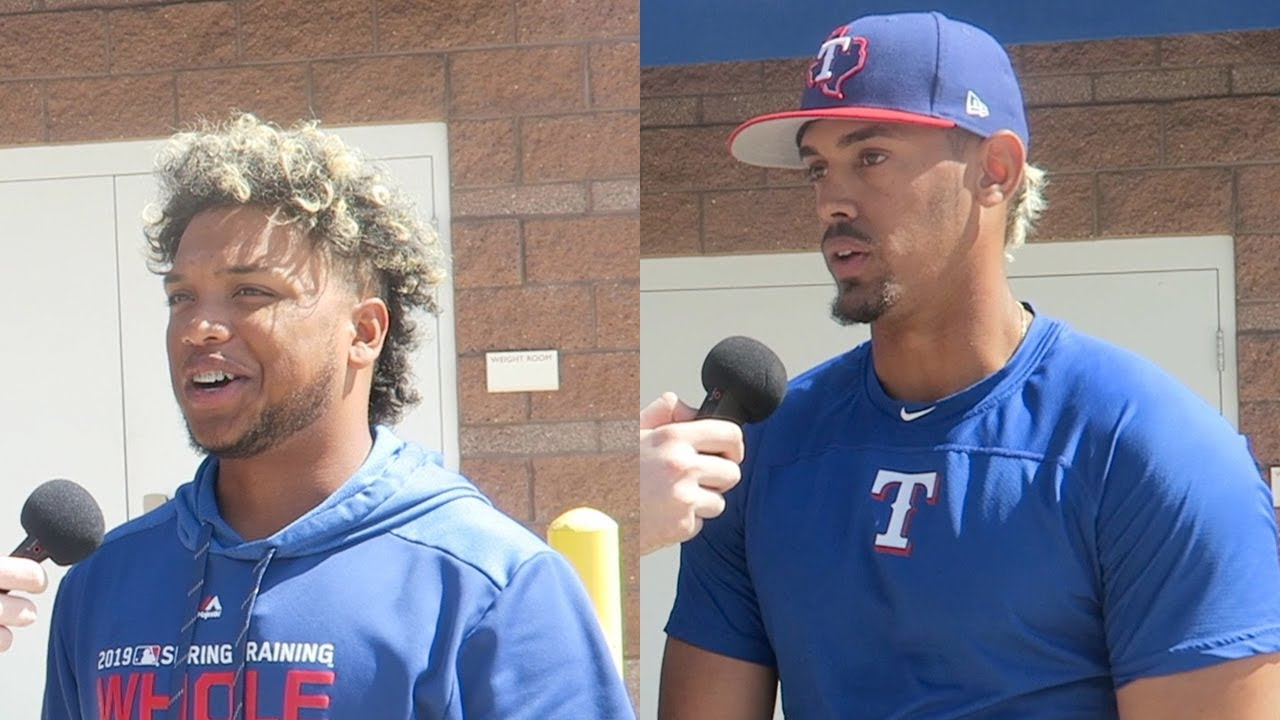 49293a049 Interviewing WIllie Calhoun   Ronald Guzman! Went to the Texas Rangers  Spring Training Facility!