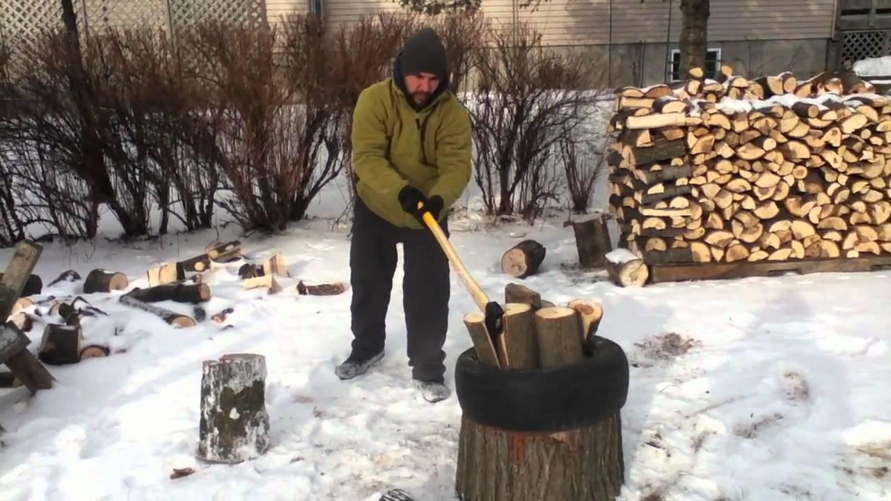 Fendre du bois avec un pneu youtube for Chevre pour couper le bois
