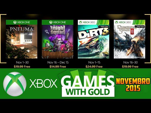 Jogos GrÁtis, Xbox Live Gold De Novembro 2015 (xbox 360 / Xbox One)