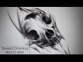Speed drawing charcoal Sketch tattoo style - skull animal