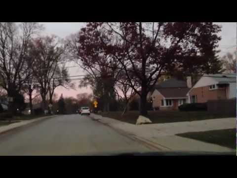 Halloween streets in the USA suburb