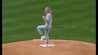 UCLA's Stevie Wisz throws inspiring first pitch at Dodger Stadium to Kenley Jansen