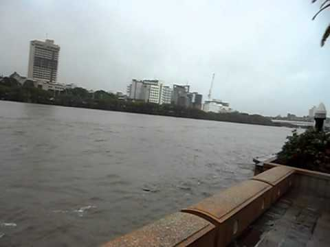Brisbane River Floods 2011 - South Bank riverside path, river near overflowing. 1515 11/01/2011