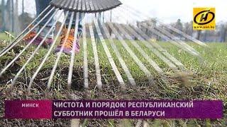 Белорусские чиновники и спортсмены на Республиканском субботнике 2017